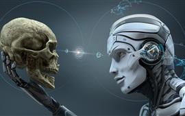 Aperçu fond d'écran Robot, crâne, design créatif