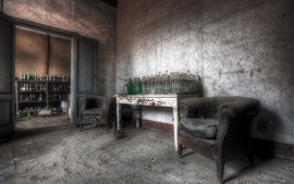 Preview wallpaper Room, bottles, table, dust