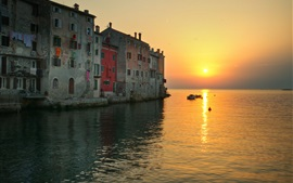 Rovinj, Croatia, city, sea, sunset