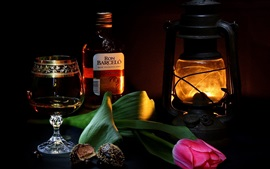 Ron, vino, botella, taza, tulipán, lámpara