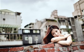 Preview wallpaper Sadness Asian girl look, wall