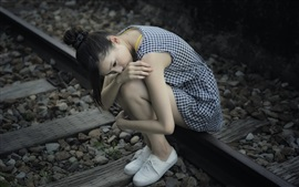 Preview wallpaper Sadness Asian girl, railroad