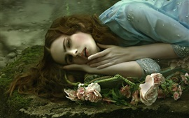 Preview wallpaper Sadness girl sleep, roses, art photography