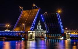 São Petersburgo, ponte, noite, luzes, Rússia