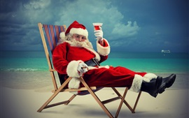 Preview wallpaper Santa Claus, wine, sea, beach, holiday