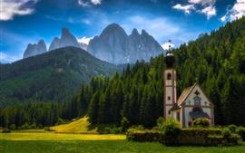Preview wallpaper Santa Maddalena, Italy, Dolomites, mountains, trees, church