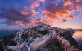 Санторини, Греция, город, сумерки, облака
