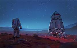 Image de science-fiction, vaisseaux spatiaux, astronaute, étoiles, espace