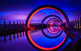 Preview wallpaper Scotland, Falkirk Wheel, water, night, lights