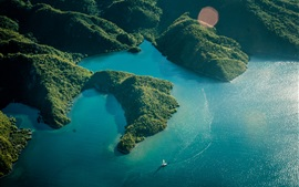 Море, острова, лес, лодка, вид сверху