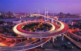 Shanghai, puente, Huangpu, río, caminos, luces, noche
