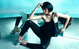 Short hair Asian girl, black dress, pose, art photography