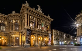 Preview wallpaper Sicily, Catania, Italy, city street, Opera, night, lights