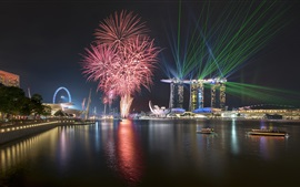 Preview wallpaper Singapore, fireworks, night, city, boats, lights, sea