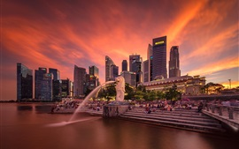 Preview wallpaper Singapore, fountains, skyscrapers, red sky, dusk, people