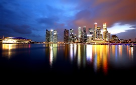 Singapore, skyscrapers, bay, water reflection, night, lights