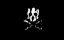 Skull, bones, black background