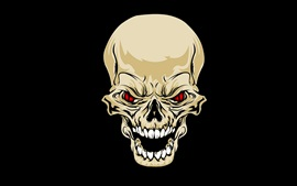 Preview wallpaper Skull, teeth, red eyes, black background