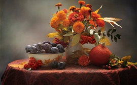 Preview wallpaper Still life, pumpkin, zinnia, marigolds, plum, berries