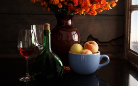 Preview wallpaper Still life, wine, cup, peach, flowers