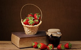 Preview wallpaper Strawberry, jam, still life, book