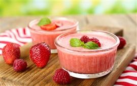 Preview wallpaper Strawberry, raspberry, dessert, mousse