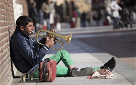 Preview wallpaper Street artist, trumpet