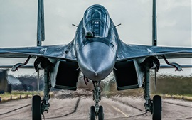 Preview wallpaper Sukhoi Su-30MKI fighter front view