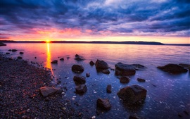 Preview wallpaper Sunset, sea, stones, rocks, clouds, dusk