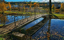 스위스, 취리히 주 풍경, 가을, 다리, 천