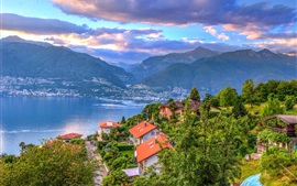 Switzerland, Maggiore, lake, houses, trees, Alps, clouds