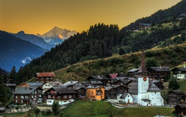Switzerland, church, trees, slope, mountains, town, dusk