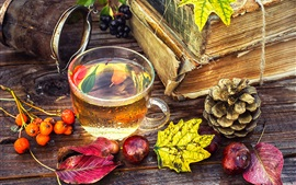 Tea, berries, book, leaves, still life