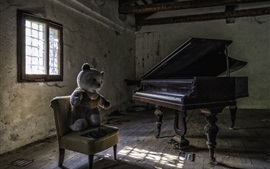 Preview wallpaper Teddy bear on chair, piano, dust