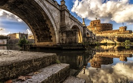 Tiber river, Rome, Italy, castle, clouds