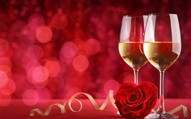 Preview wallpaper Two cups of champagne, romantic, rose, red background