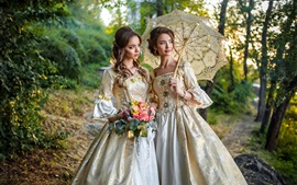Preview wallpaper Two elegant girls, hairstyles, flowers, retro style dress