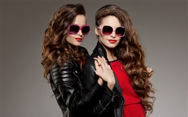 Preview wallpaper Two girls, curly hair, sunglasses, leather jacket