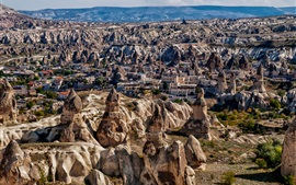 Preview wallpaper Uchisar, Turkey, Cappadocia, mountains, town, stones