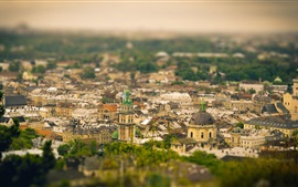 Preview wallpaper Ukraine, city view, buildings, tilt-shift photography
