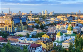 Preview wallpaper Ukraine, city view, church, skyscrapers