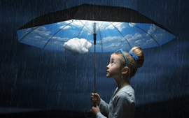 Preview wallpaper Umbrella, child girl, rainy, sky, clouds, creative picture