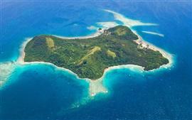 Preview wallpaper Wakaya island, Fiji, sea, top view