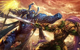 Preview wallpaper Warriors, fight, armor, art picture