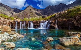 Waterfall, stones, mountain, clouds