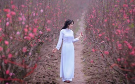 Preview wallpaper White dress Asian girl, pink flowers, spring