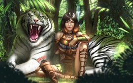 Preview wallpaper White tiger and girl, art drawing