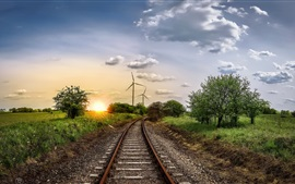 Windmill, railroad, trees, sunset, clouds