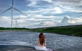 Preview wallpaper Windmills, girl back view, lake, clouds