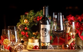 Preview wallpaper Wine, bottle, cups, Christmas decoration